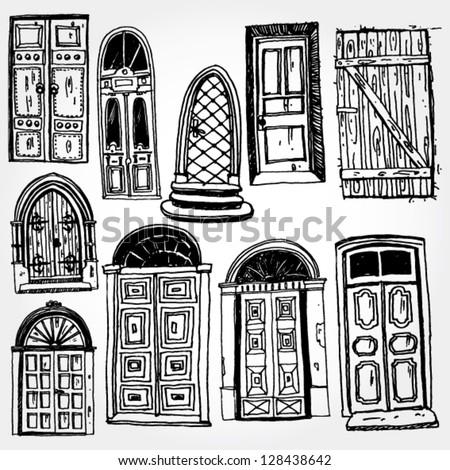 Old Doors Hand Drawn - stock vector