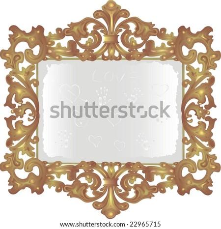 old dusty mirror - stock vector