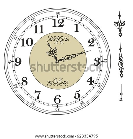 Old Elegant Clock Face Template Numerals Stock Vector