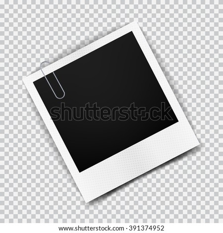 Old empty realistic photo frame with transparent shadow on plaid black white background - stock vector