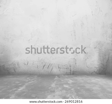 old empty room with concrete wall, grey interior background, vector. - stock vector