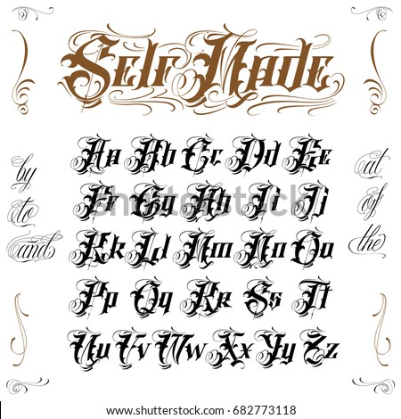 Old english tattoo lettering stock vector royalty free 682773118 old english tattoo lettering altavistaventures Gallery