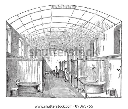 Old engraved illustration of the hall for single bath in Hopital Saint-Louis in Paris, France. Industrial encyclopedia E.-O. Lami - 1875.