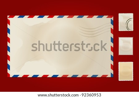 Old envelope and stamp set. Vector Illustration. - stock vector