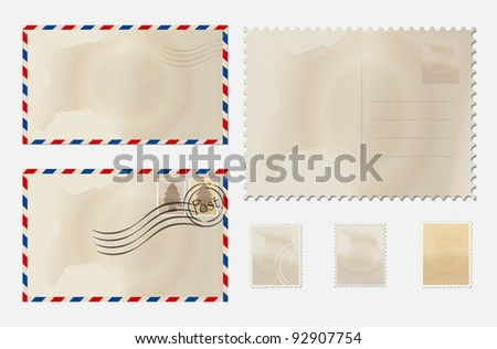 Old envelope, stamp set and postcard. Vector Illustration. - stock vector
