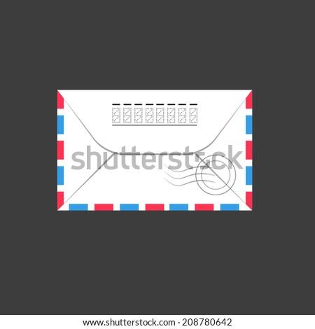 Old envelope. Vector Illustration, flat - stock vector