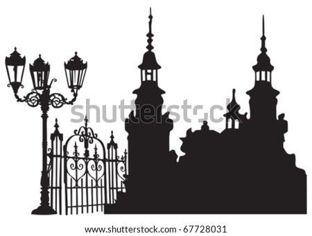 Old European town with lanterns and iron gates - stock vector