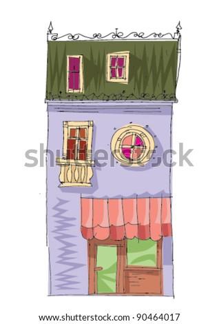 old facade - stock vector