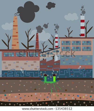 Old factory with pipes pollute the atmosphere. - stock vector