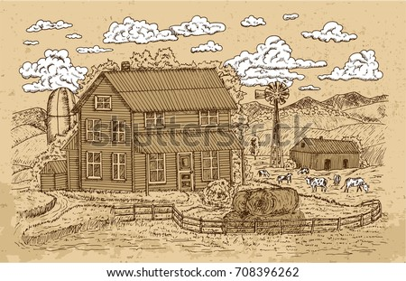 Old Farm Or Ranch With Farmhouse Cows And White Clouds On Texture Background Vintage