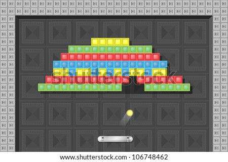 Old fashion arcade platformer, computer game screen - stock vector