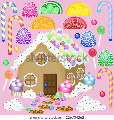 old fashion candy and gingerbread house/Create a candy house scene/Each piece is on a separate layer to create your own scene