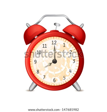 Old-fashioned alarm clock isolated on white
