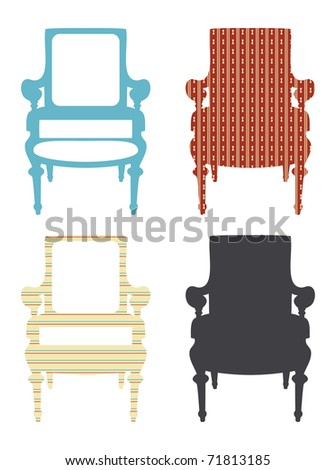 Old-fashioned armchair on white background - stock vector
