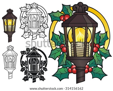 Old Fashioned Christmas lantern - stock vector