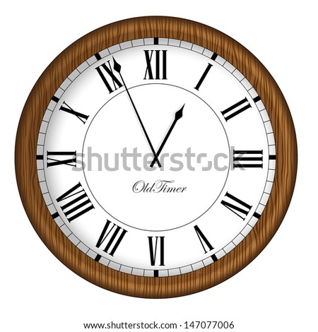 Old Fashioned Clock. Retro Old Timer clock in wooden frame. Vector illustration. - stock vector