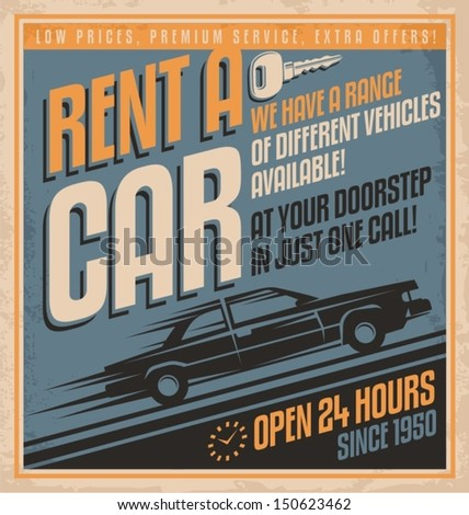 Old fashioned comics style rent a car poster design. Vintage vector template on old paper texture. - stock vector