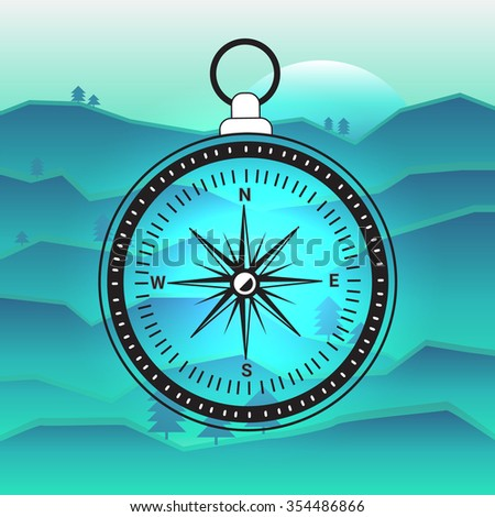 Old fashioned compass on blue mountain background. Vector illustration for your graphic design. - stock vector