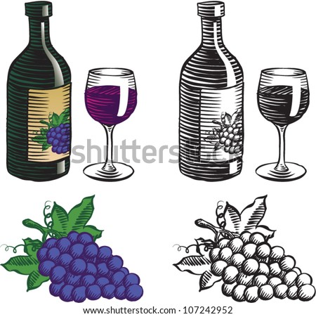 Old fashioned etched style illustration of an open bottle of wine with a full wine glass next to it, and a bunch of concord grapes, in color and black and white, isolated on white.