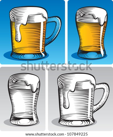 Old fashioned etched style illustration of lager beer in a mug and in a beer glass. In color and black and white.