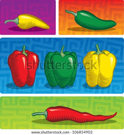 Old fashioned etched style illustration of various chili peppers. - stock vector