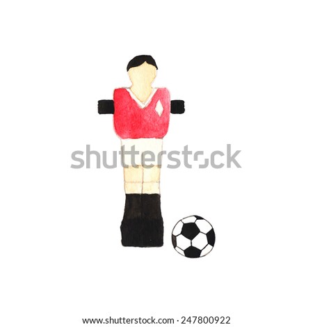 Old fashioned foosball player and ball. Watercolor object on the white background, aquarelle. Vector illustration. Hand-drawn decorative element useful for invitations, scrapbooking, design. - stock vector