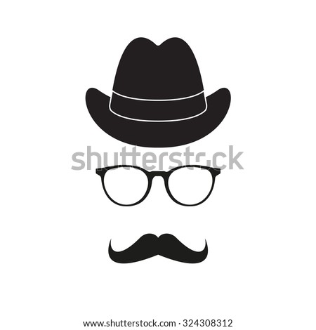 Old fashioned gentleman accessories icons set: hat, glasses and mustache. Retro hipster style. Vector illustration.  - stock vector