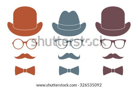 Old fashioned gentleman accessories icons set: hat, glasses, mustache and bow-tie. Retro hipster style. Colorful vector illustration. - stock vector