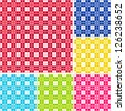 Old fashioned gingham check pattern for scrapbooks, restaurants, fabrics, arts, crafts and decorating. Six color palettes - red, blue, gold, lime, magenta and turquoise. - stock photo