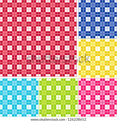Old fashioned gingham check pattern for scrapbooks, restaurants, fabrics, arts, crafts and decorating. Six color palettes - red, blue, gold, lime, magenta and turquoise. - stock vector