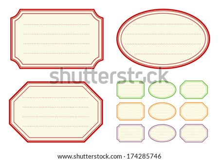 Old fashioned jam label templates - stock vector