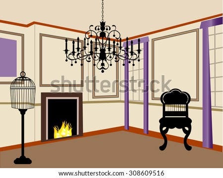 old-fashioned living room with fire in fireplace chandelier furniture - stock vector