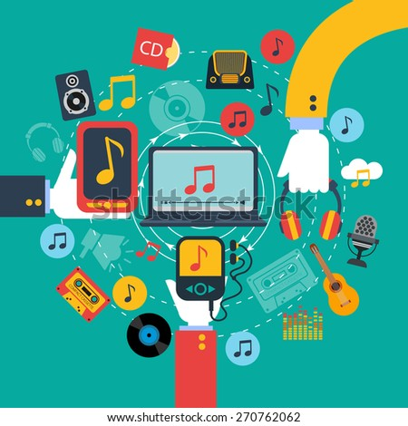 Old fashioned retro music apps poster with 3 hands holding tablets and mobile phone abstract vector illustration - stock vector