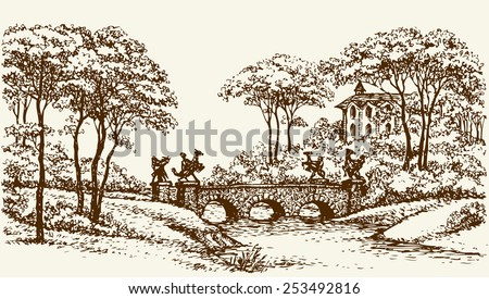 Old-fashioned stone bridge with cast statues over rivulet in royal romantic parkland with beautiful palace. Vector monochrome freehand ink drawn background sketchy in art antiquity style pen on paper - stock vector