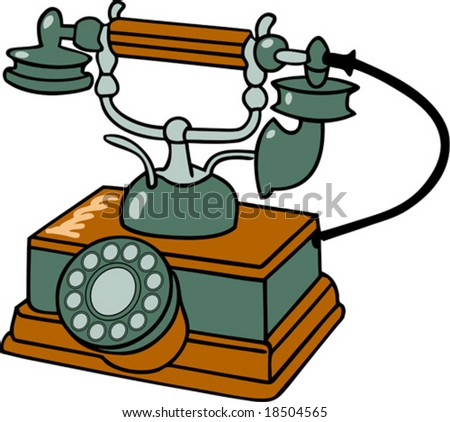 old-fashioned table telephone (also available in raster format)