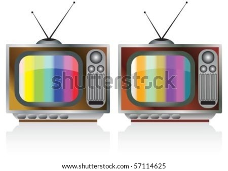 Old fashioned tv in wooden box - stock vector
