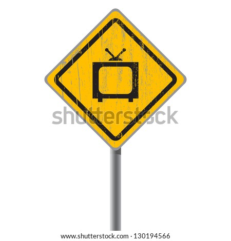 Old-fashioned TV on the old shabby street sign. - stock vector