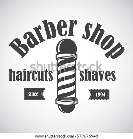 Old Fashioned Vintage Barber Shop Pole Emblem Label Badge Logo Vector