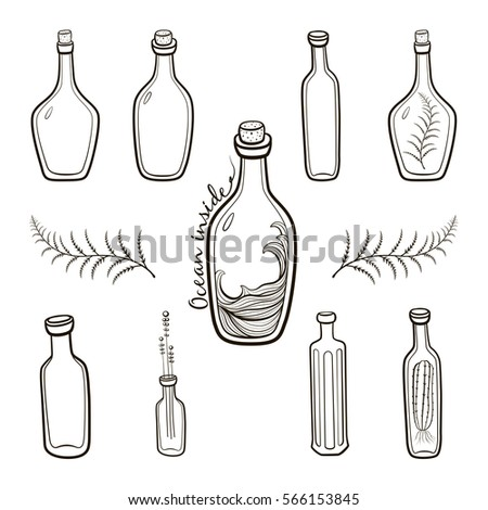 Old Fashioned Vintage Bottles Set Hand Drawing Countour Illustration On White Background