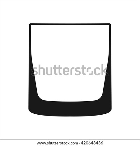 Old Fashioned whiskey glass sign  simple icon on background - stock vector