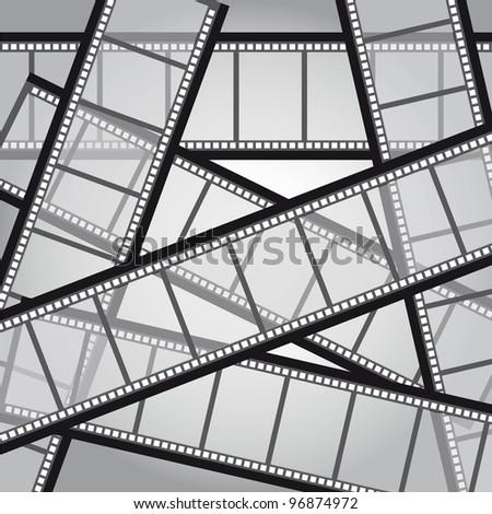 old film stripes background, black and white. vector illustration - stock vector