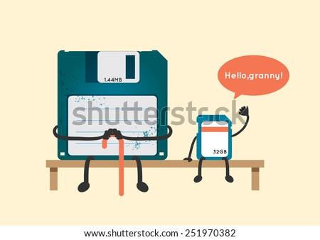 old floppy disk and new sd card greeting illustration vector - stock vector