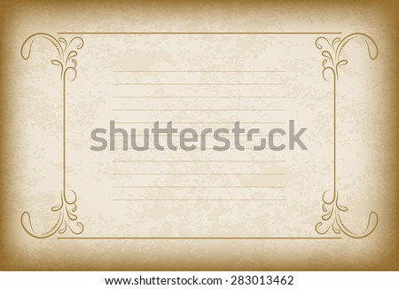 Old frame with the blacked out edges and a blank lined space for text. Retro vintage greeting card, invitation or template for notes. - stock vector