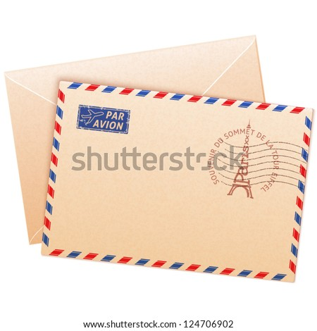 Old french envelope with Eiffel tour and sign par avion - stock vector
