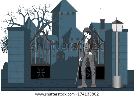 Old gate view vector illustration in vintage style - stock vector