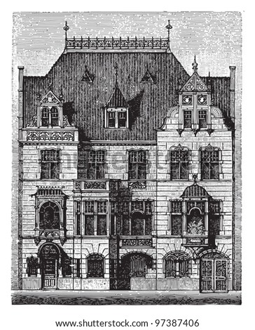 Old german house / Vintage illustration from Meyers Konversations-Lexikon 1897 - stock vector