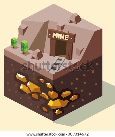 Old Gold mine. isometric art - stock vector
