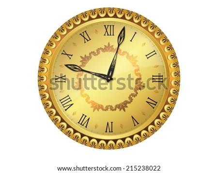 Old golden vintage clock face. Vector illustration. - stock vector