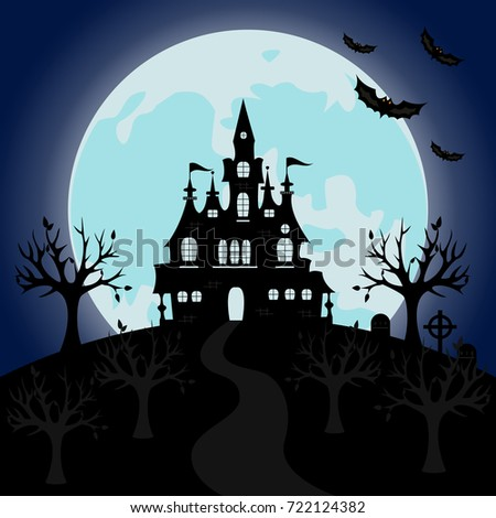 Old Gothic Cemetery With Iron Gate And Lantern Halloween Night Horror Background Vector Illustration Scary