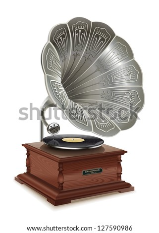 Old gramophone. Illustration of the good old music of the gramophone. First music on vinyl. - stock vector